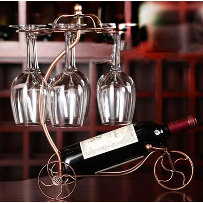 Porte bouteille brouette verres suspendus